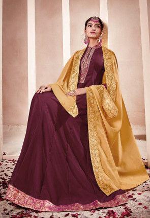 Woven Border Muslin Silk Abaya Style Suit in Wine