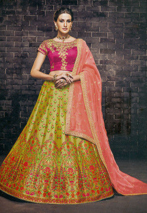 Woven Brocade Silk Lehenga in Light Olive Green