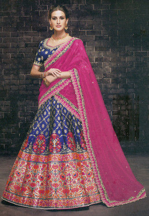 Brocade Silk Lehenga in Navy Blue