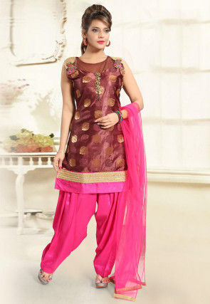 Woven Brocade Silk Punjabi Suit in Brown