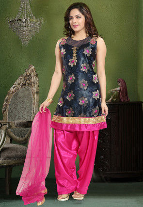 Satin Punjabi Suit in Navy Blue