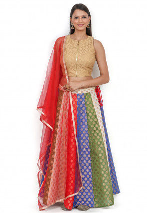 Woven Chanderi Brocade Lehenga in Multicolor