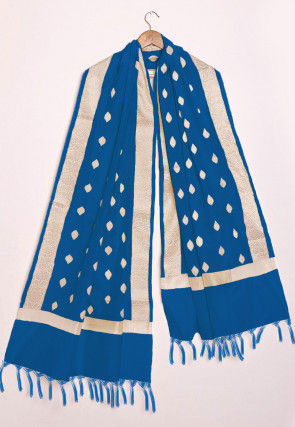 Woven Chanderi Cotton Dupatta in Blue