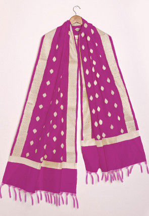 Woven Chanderi Cotton Dupatta in Magenta