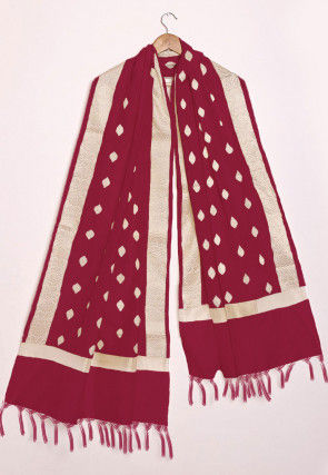 Woven Chanderi Cotton Dupatta in Maroon