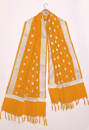 Woven Chanderi Cotton Dupatta in Orange