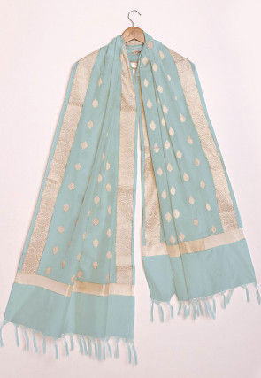 Woven Chanderi Cotton Dupatta in Pastel Blue