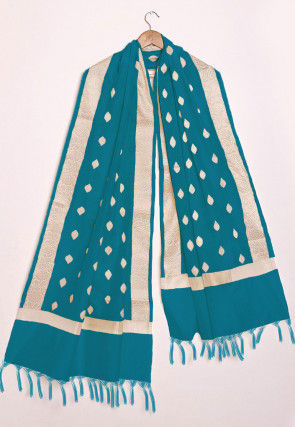 Woven Chanderi Cotton Dupatta in Teal Green
