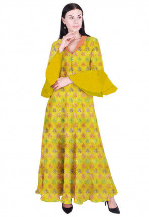 Woven Chanderi Cotton Jacquard Flared Gown in Yellow