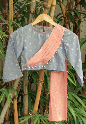 Woven Chanderi Cotton Jacquard Kids Crop Top in Grey and Peach