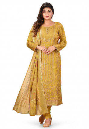 Woven Chanderi Cotton Jacquard Pakistani Suit in Mustard