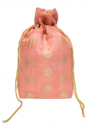 Woven Chanderi Cotton Jacquard Potli Bag in Peach