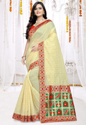 Woven Chanderi Cotton Saree in Cream