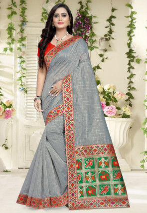 Woven Chanderi Cotton Saree in Grey