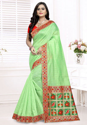 Woven Chanderi Cotton Saree in Light Green