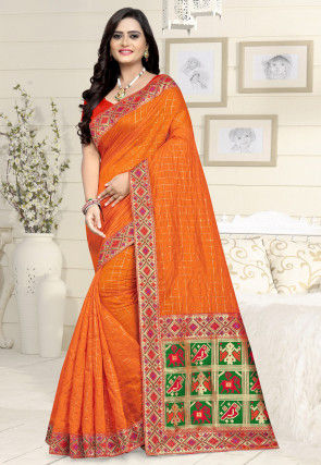 Woven Chanderi Cotton Saree in Orange