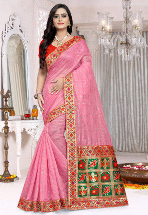 Woven Chanderi Cotton Saree in Pink