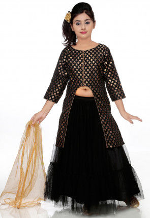 Woven Chanderi Jacquard Lehenga in Black