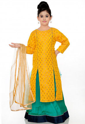 Woven Chanderi Jacquard Lehenga in Yellow