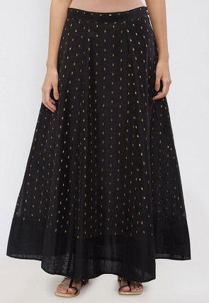 Woven Chanderi Silk A Line Skirt in Black
