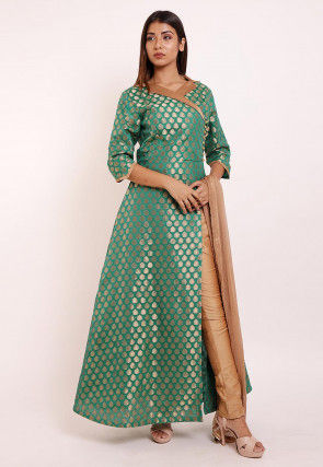 Woven Chanderi Silk Abaya Style Suit in Teal Green