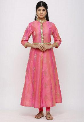 Woven Chanderi Silk Anarkali Kurta in Shaded Pink