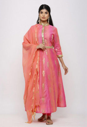 Woven Chanderi Silk Anarkali Suit in Shaded Pink