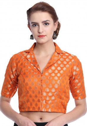 Woven Chanderi Silk Blouse in Orange