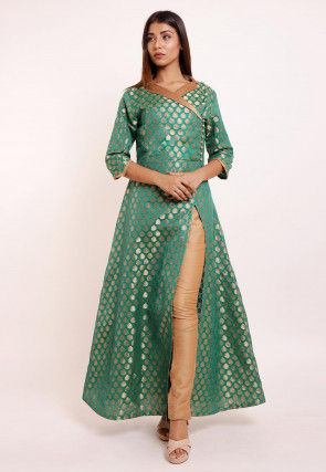 Woven Chanderi Silk Brocade Kurta Set in Teal Green