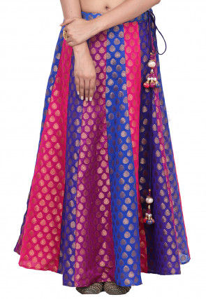 Woven Chanderi Silk Brocade Skirt in Multicolor