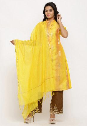Woven Chanderi Silk Dupatta in Yellow