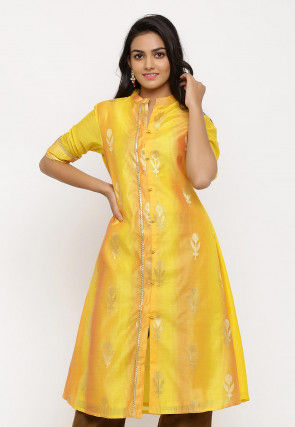 Woven Chanderi Silk Front Open A Line Kurta in Shaded Yellow
