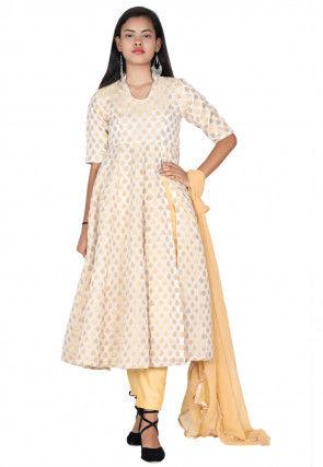 Woven Chanderi Silk Front Open Anarkali Suit in Off White