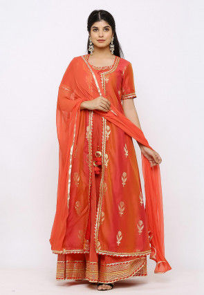 Woven Chanderi Silk Jacket Style Abaya Suit in Rust and Red