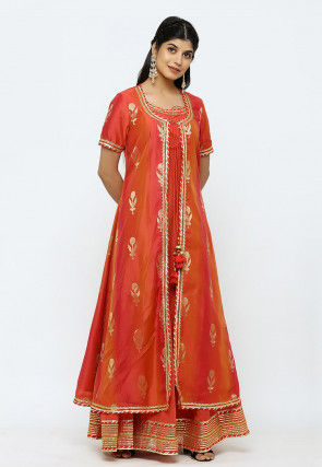 Woven Chanderi Silk Jacket Style Kurta in Rust and Red