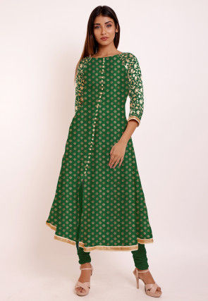 Woven Chanderi Silk Jacquard A Line Kurta in Dark Green