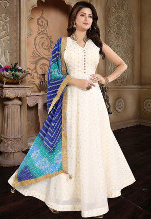 Woven Chanderi Silk Jacquard Abaya Style Suit in Cream