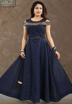Woven Chanderi Silk Jacquard Abaya Style Suit in Navy Blue