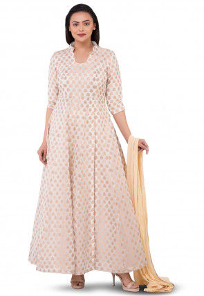 Woven Chanderi Silk Jacquard Abaya Style Suit in Off White