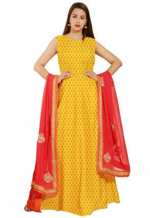 Woven Chanderi Silk Jacquard Abaya Style Suit in Yellow
