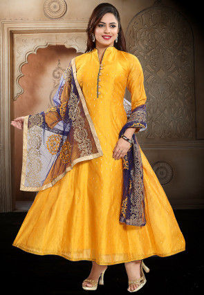 Woven Chanderi Silk Jacquard Abaya Style Suit in Mustard
