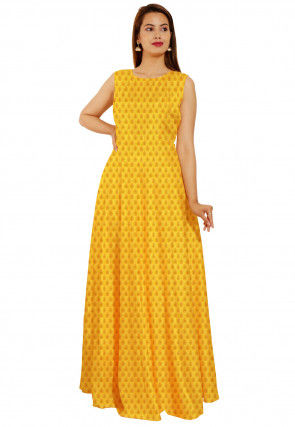 Woven Chanderi Silk Jacquard Flared Gown in Yellow