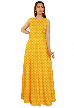 Woven Chanderi Silk Jacquard Flared Gown Set in Yellow