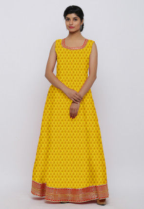 Woven Chanderi Silk Jacquard Gown in Yellow