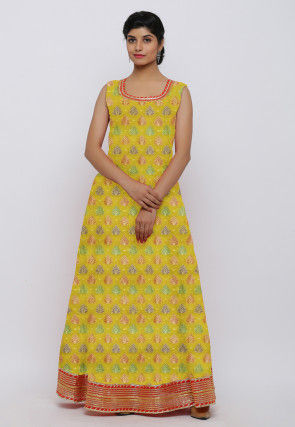 Woven Chanderi Silk Jacquard Gown Set in Yellow