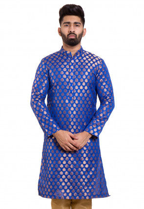 Woven Chanderi Silk Jacquard Kurta in Royal Blue