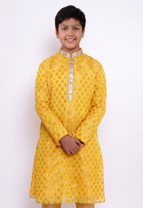 Woven Chanderi Silk Jacquard Kurta in Yellow