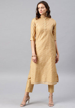 Woven Chanderi Silk Jacquard Kurta Set in Beige