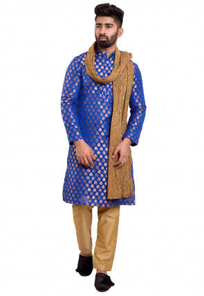 Woven Chanderi Silk Jacquard Kurta Set in Royal Blue