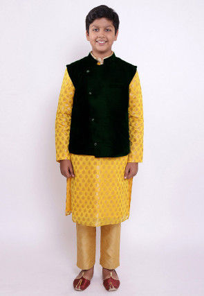 Woven Chanderi Silk Jacquard Kurta Set in Yellow and Dark Green